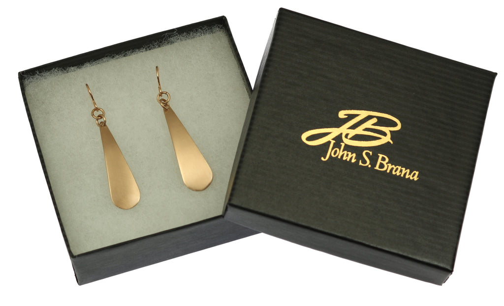 Brushed Bronze Long Teardrop Earrings