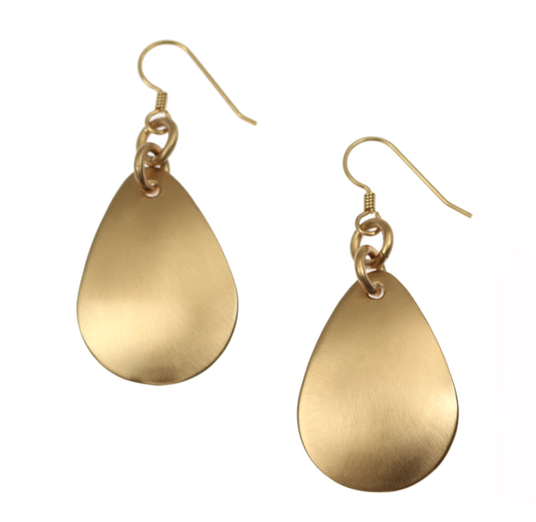 Brushed Bronze Medium Teardrop Earrings