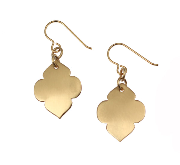 Brushed Bronze Quatrefoil Dangle Earrings