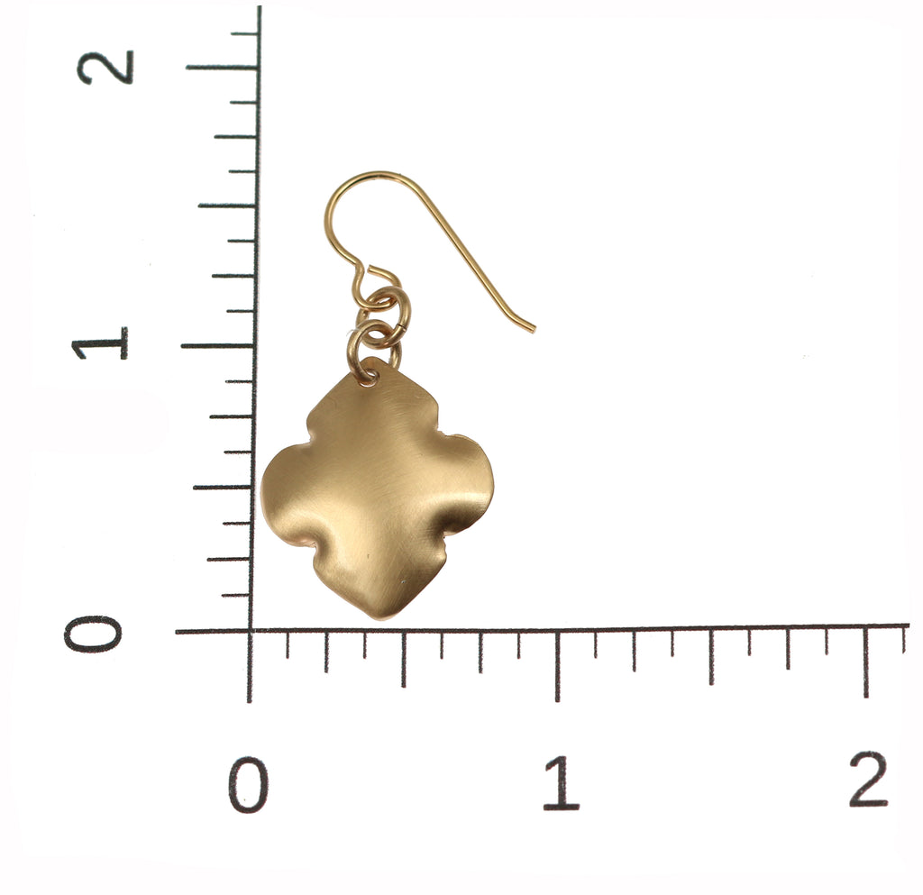 Brushed Bronze Quatrefoil Drop Earrings