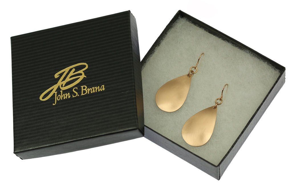 Brushed Bronze Teardrop Earrings