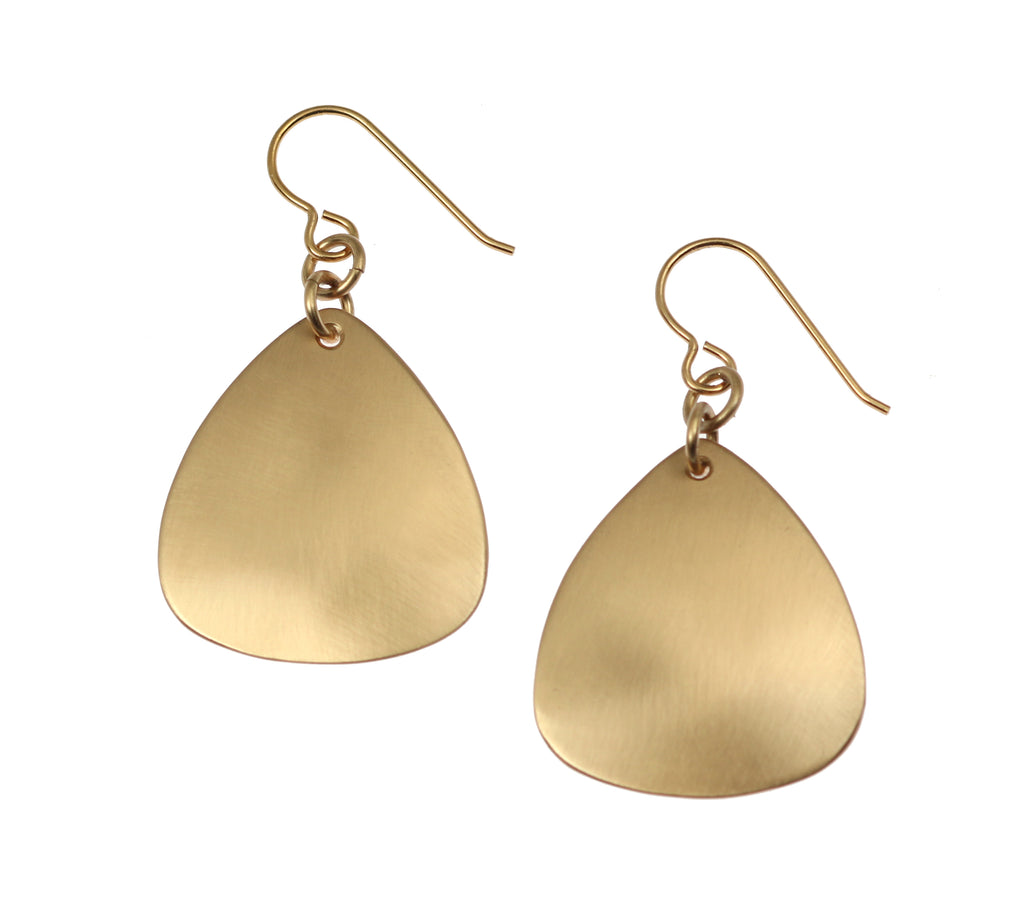 Brushed Bronze Triangular Drop Earrings