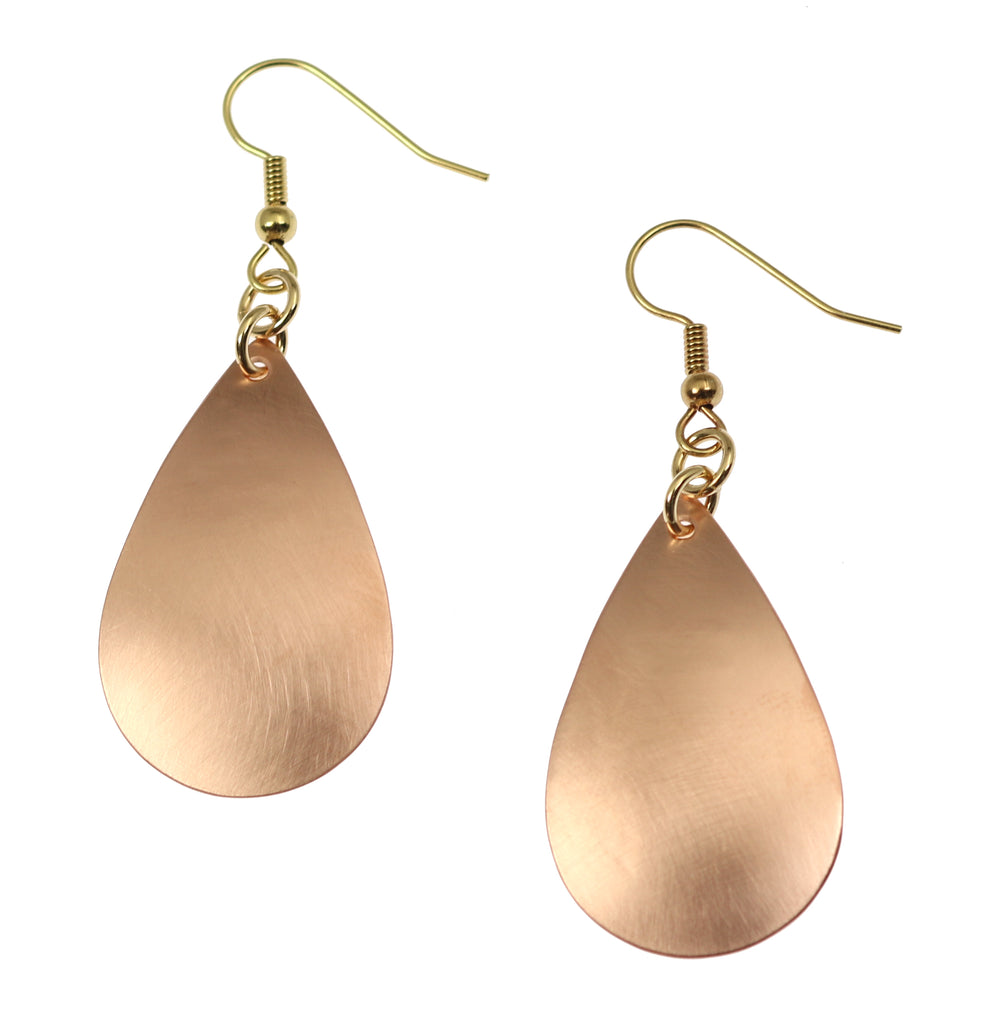Brushed Copper Teardrop Earrings
