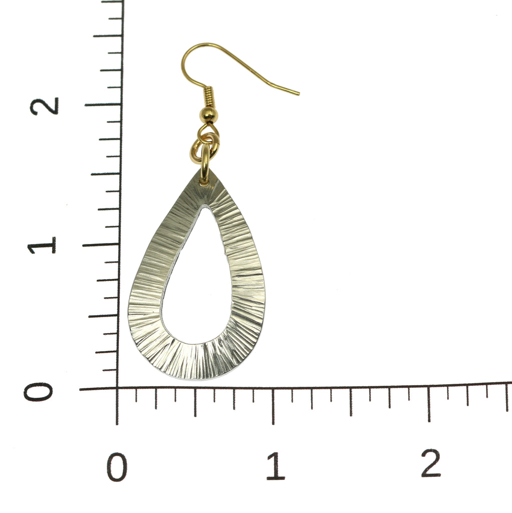 Chased Aluminum Open Teardrop Earrings