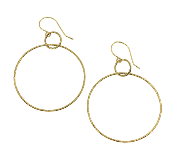 Chased Nu Gold Brass Hoop Earrings