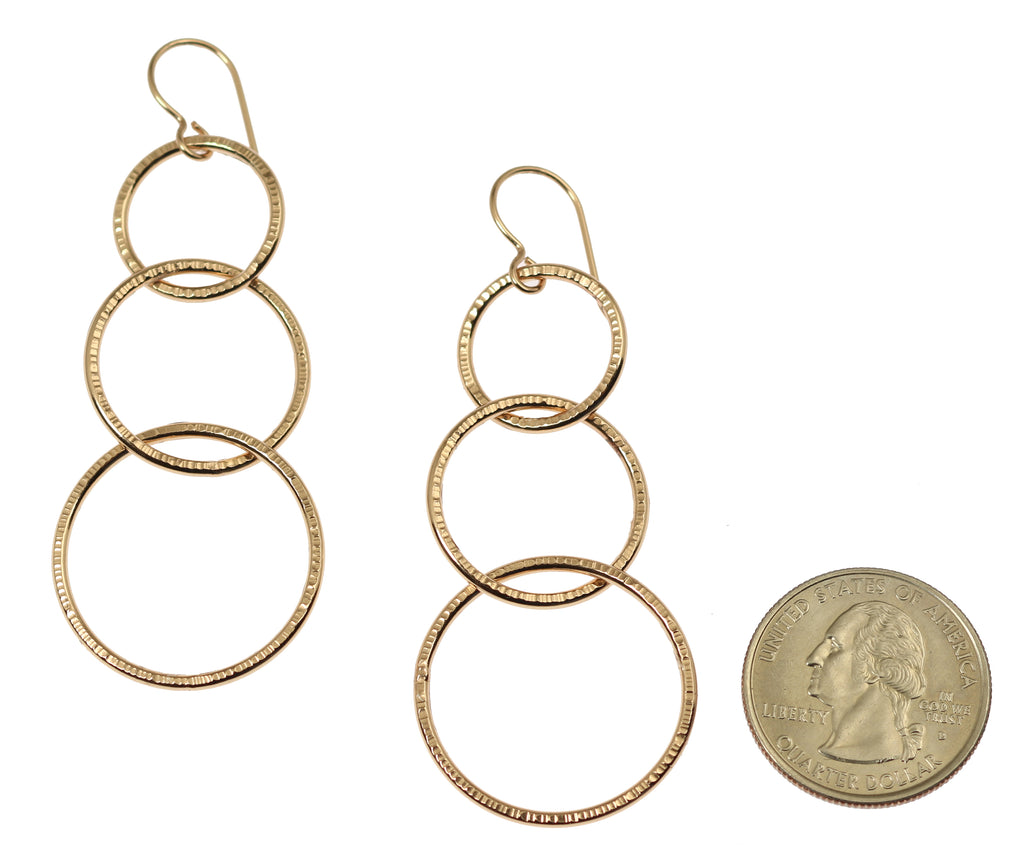 Chased Bronze Three Tiered Dangle Earrings