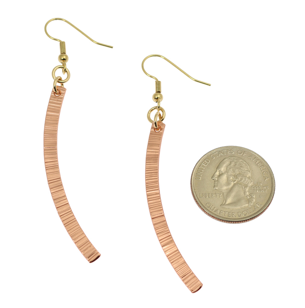 Chased Copper Dangle Drop Earrings