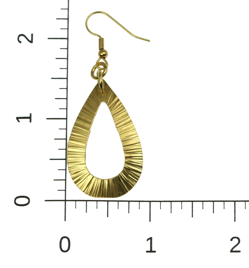 Chased Nu Gold Brass Open Teardrop Earrings