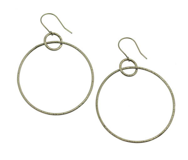 Chased Stainless Steel Hoop Earrings