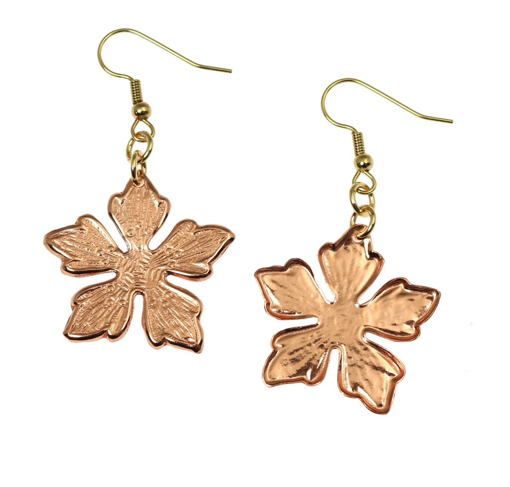 Copper Buttercup Flower Earrings