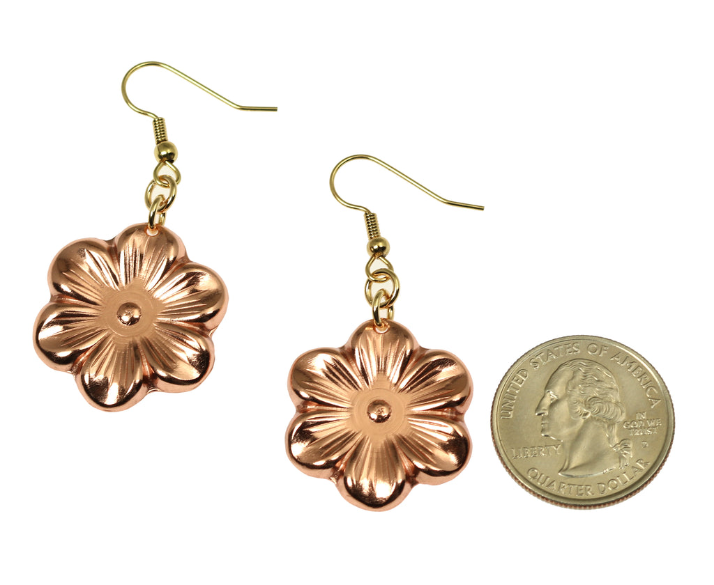 Copper Cherry Blossom Flower Earrings