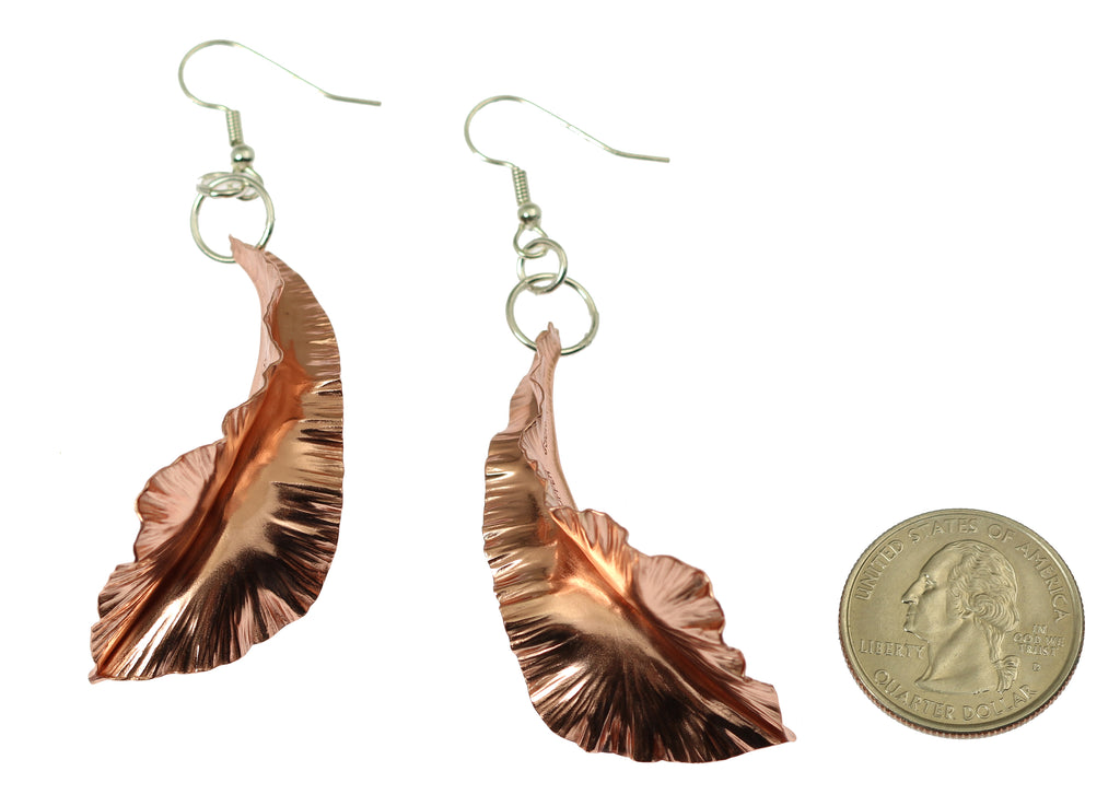 Copper Fold Formed Leaf Dangle Earrings