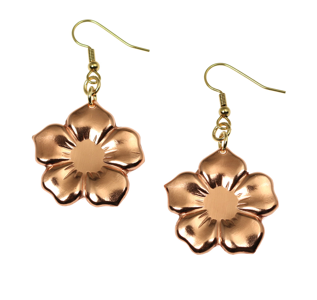 Copper Forget Me Not Flower Earrings