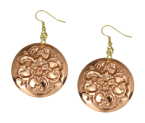 Copper Forget Me Not Disc Earrings