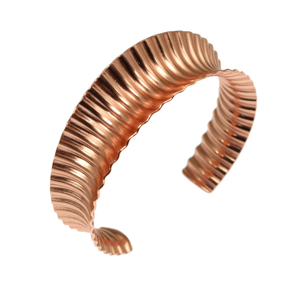 Corrugated Copper Anticlastic Tapered Handmade Cuff