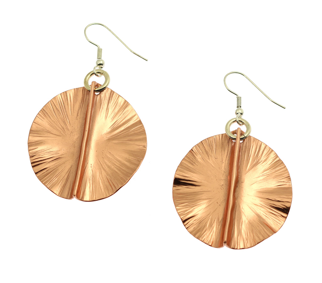 Fold Formed Copper Lily Pad Earrings