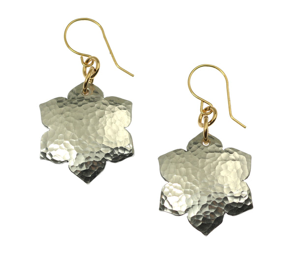 Hammered Aluminum Arabesque Flower Earrings