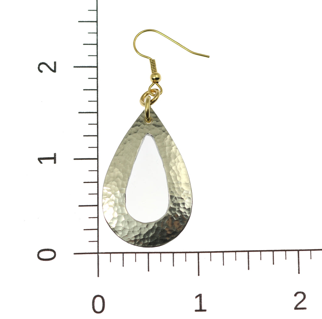 Hammered Aluminum Open Teardrop Earrings