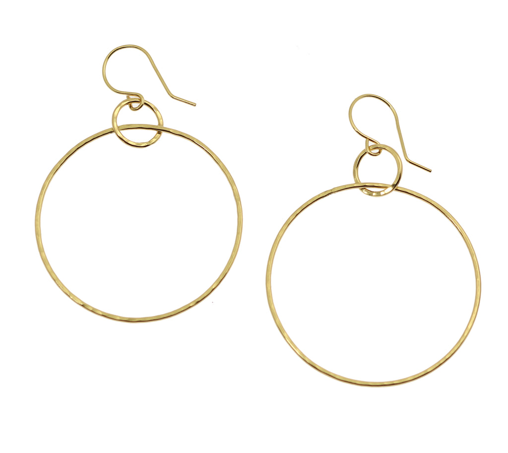 Hammered Nu Gold Brass Hoop Earrings