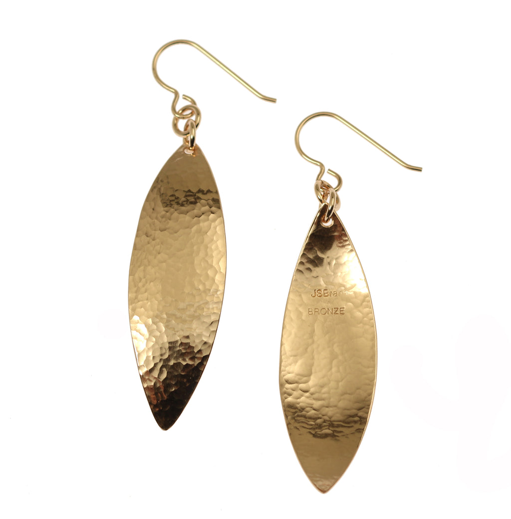 Hammered Bronze Leaf Earrings