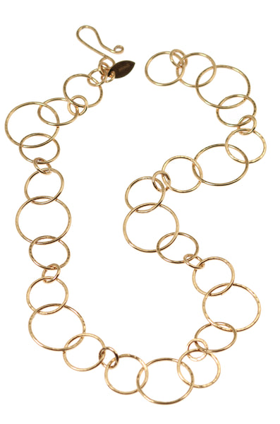 Hammered Bronze Link Chain Necklace