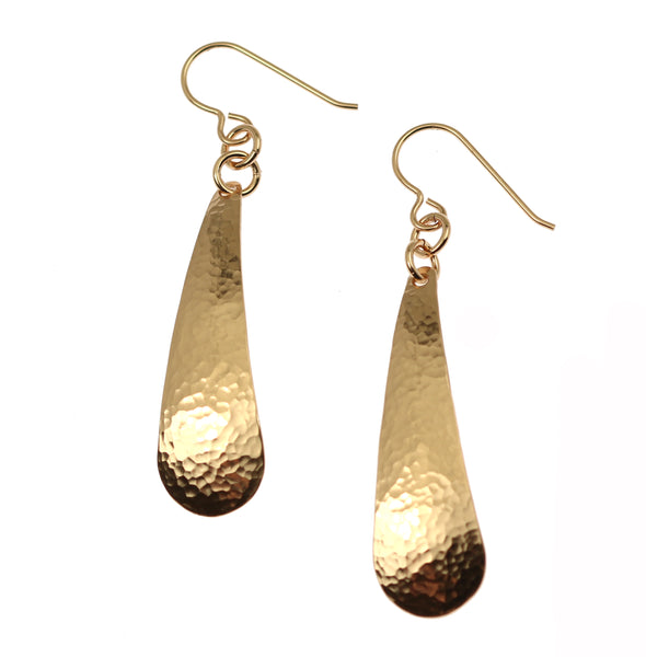 Hammered Bronze Long Teardrop Earrings