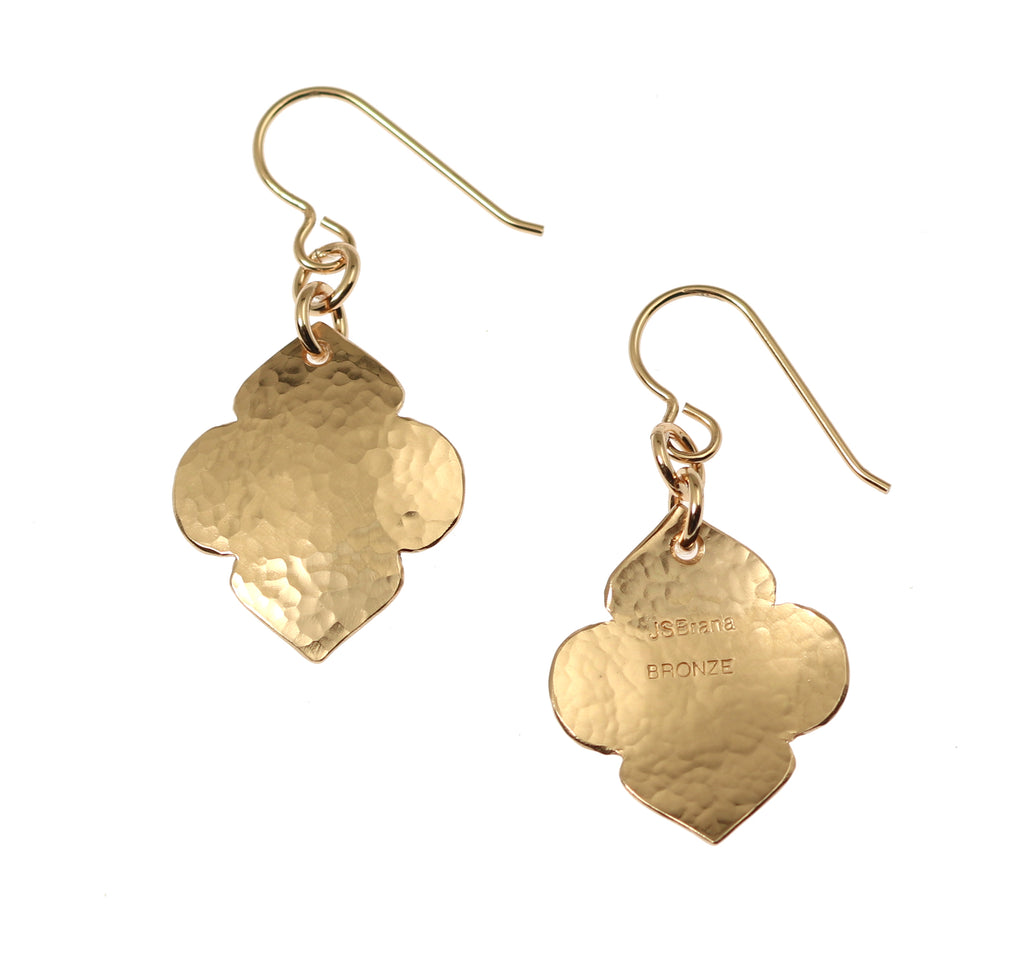 Hammered Bronze Quatrefoil Drop Earrings