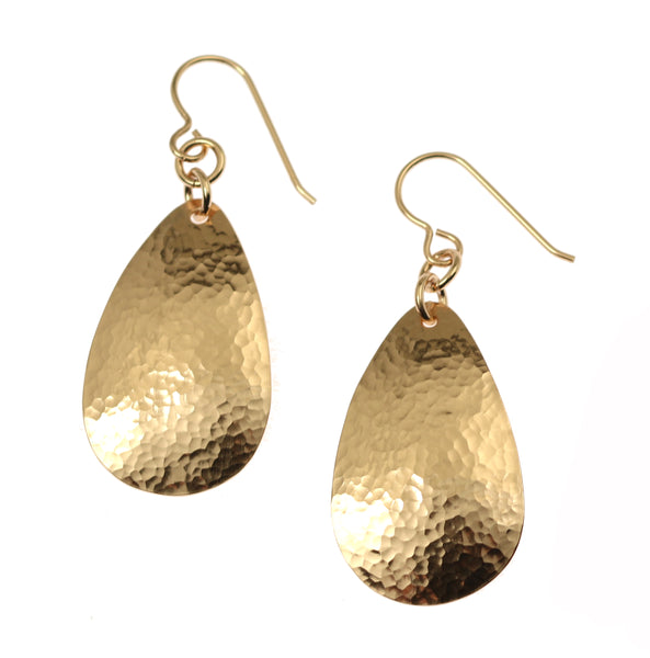 Hammered Bronze Teardrop Earrings