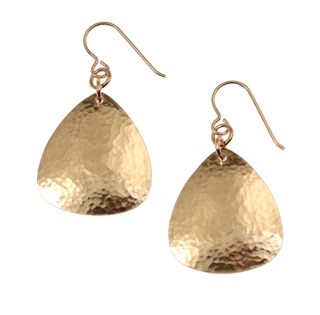 Hammered Bronze Triangular Earrings