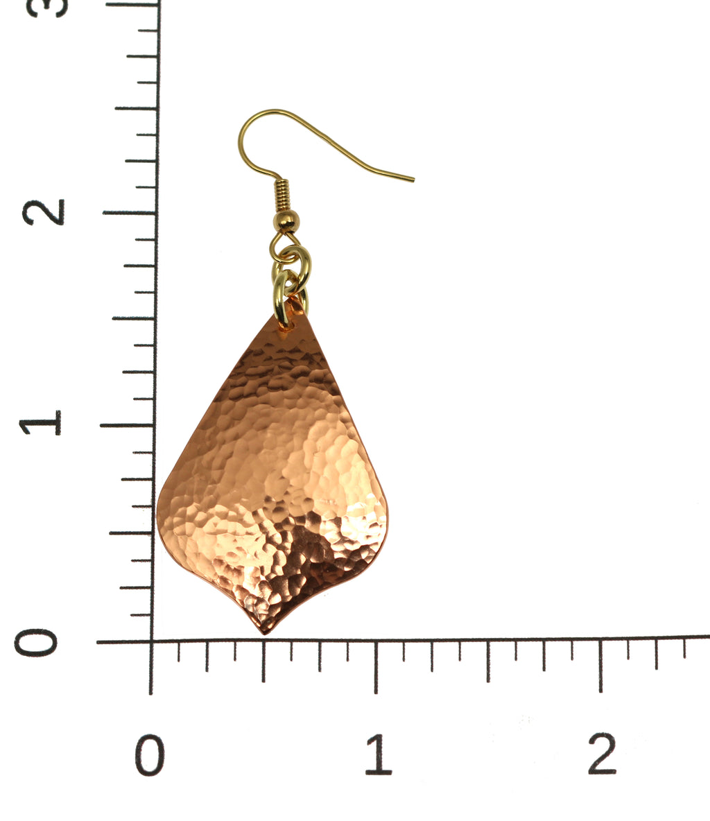 Hammered Copper Arabesque Drop Earrings