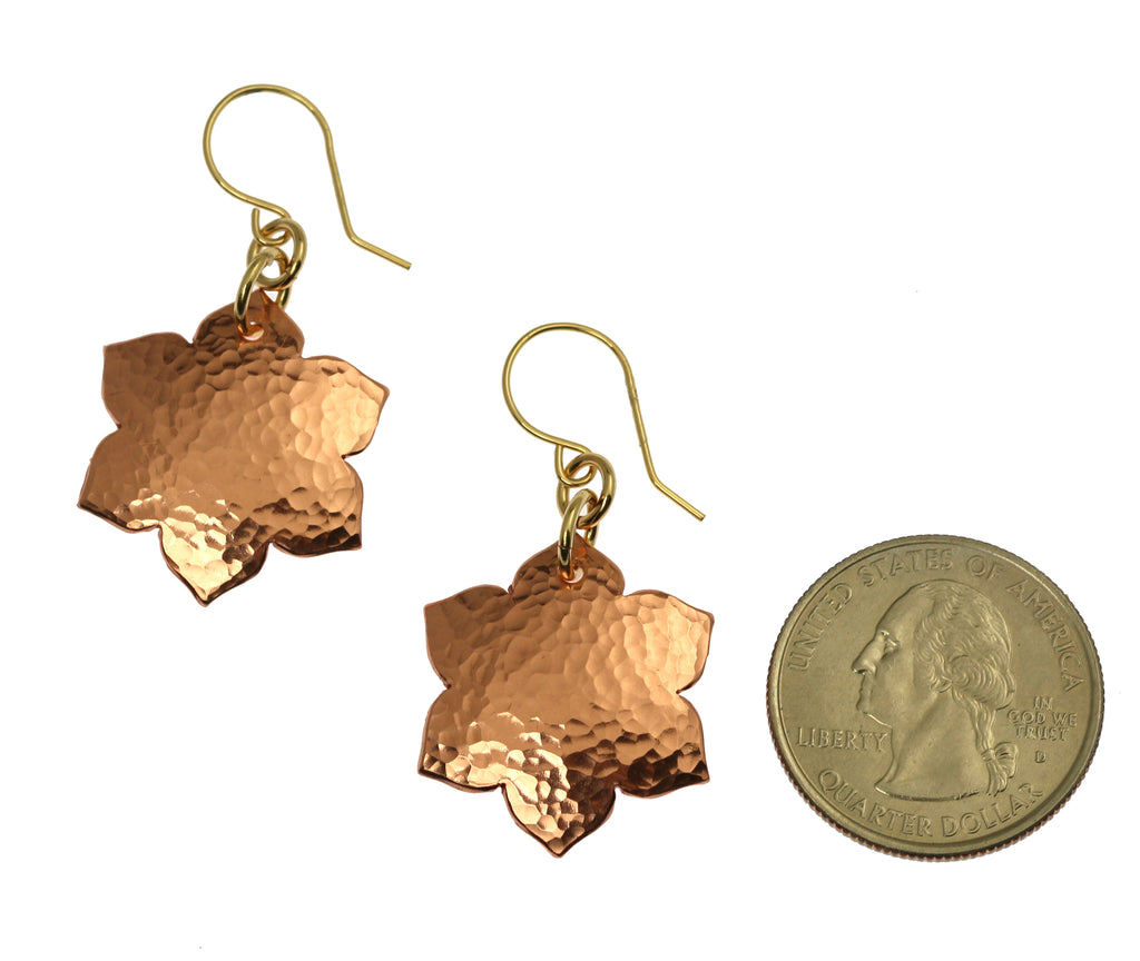 Hammered Copper Arabesque Flower Earrings