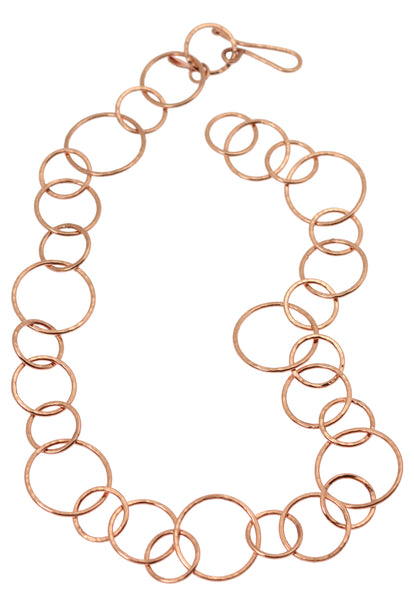 Hammered Copper Chain Link Necklace