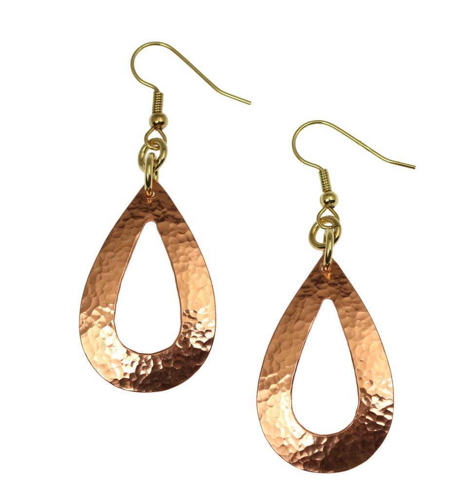 Hammered Copper Open Teardrop Earrings