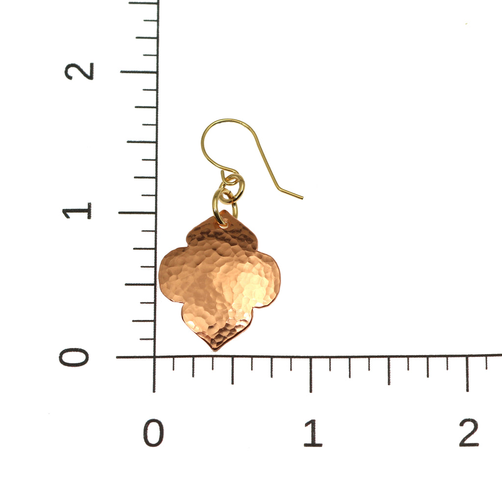 Hammered Copper Quatrefoil Dangle Earrings