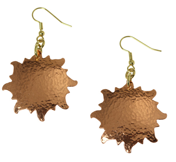 Hammered Copper Sunburst Earrings