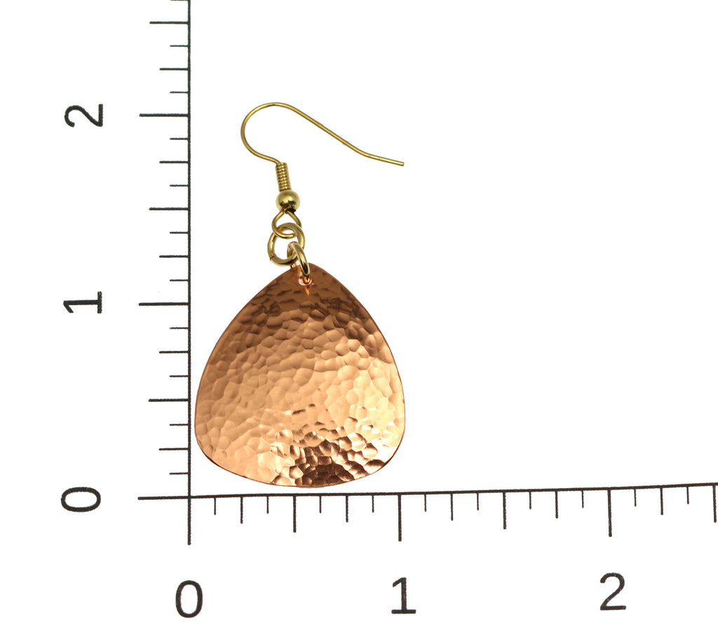 Hammered Copper Triangular Drop Earrings - Solid Copper Earrings