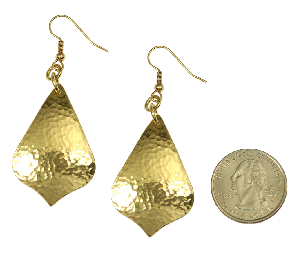 Hammered Nu Gold Arabesque Drop Earrings