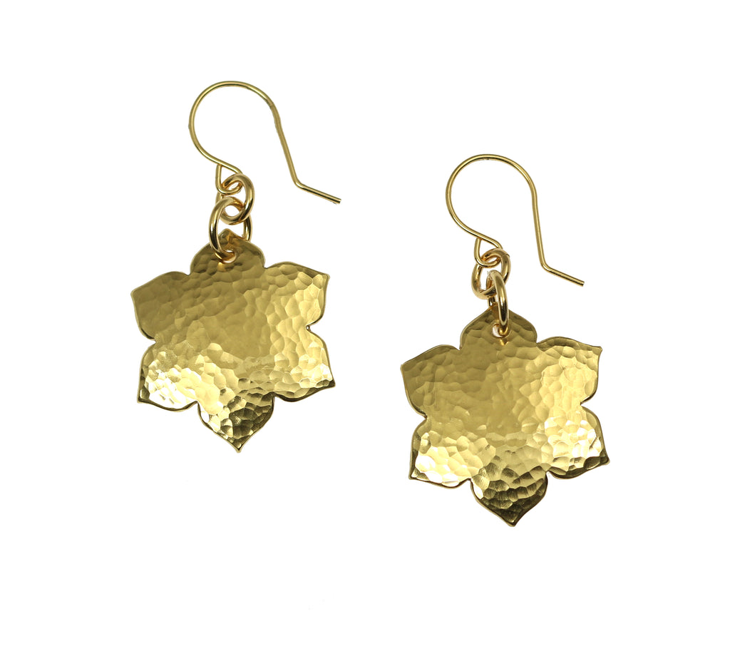 Hammered Nu Gold Arabesque Flower Earrings