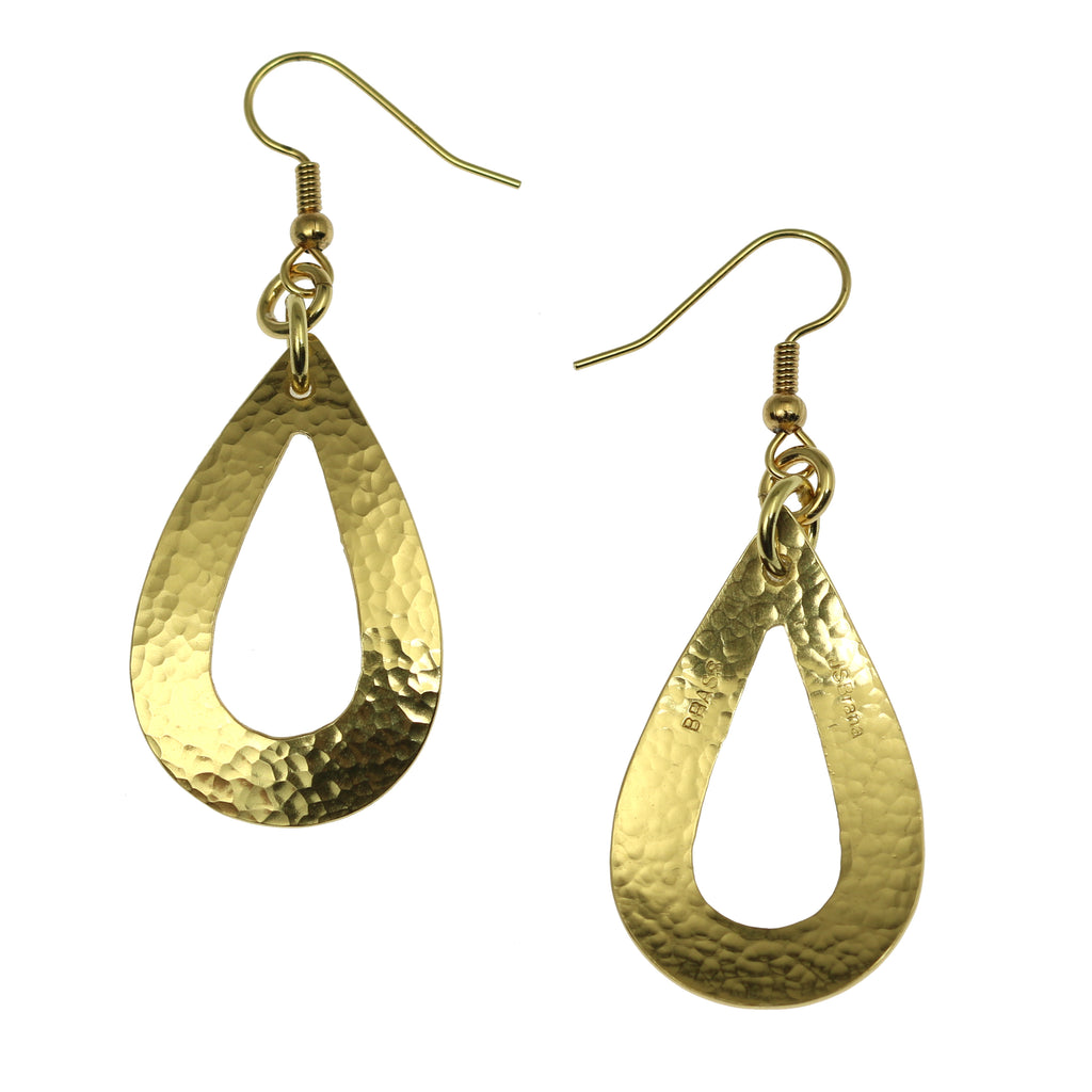 Hammered Nu Gold Brass Open Teardrop Earrings