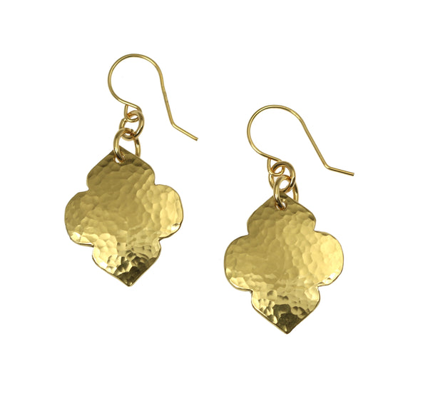 Hammered Nu Gold Quatrefoil Dangle Earrings
