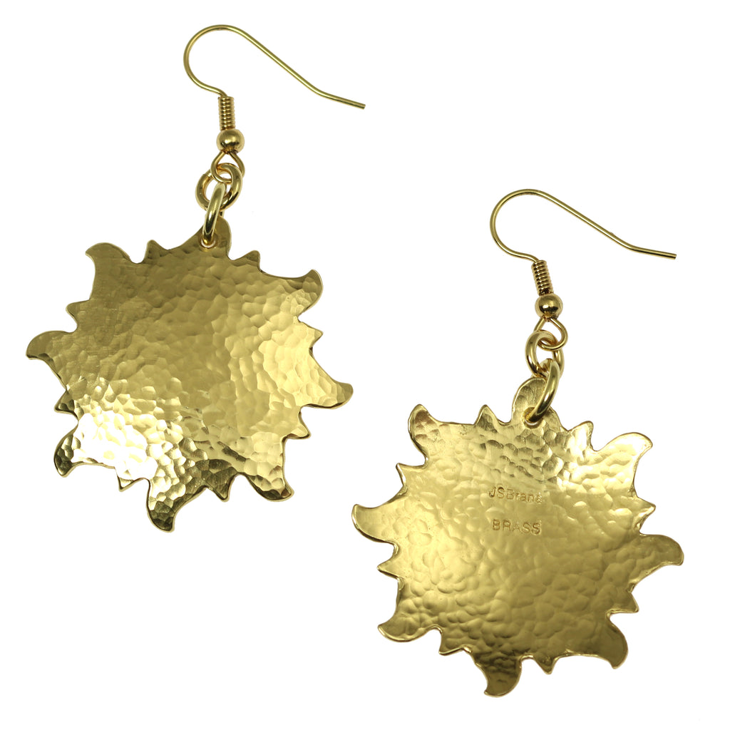 Hammered Nu Gold Sunburst Earrings