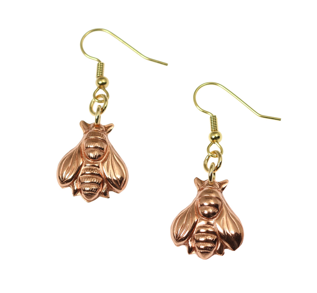 Copper Honey Bee Drop Earrings