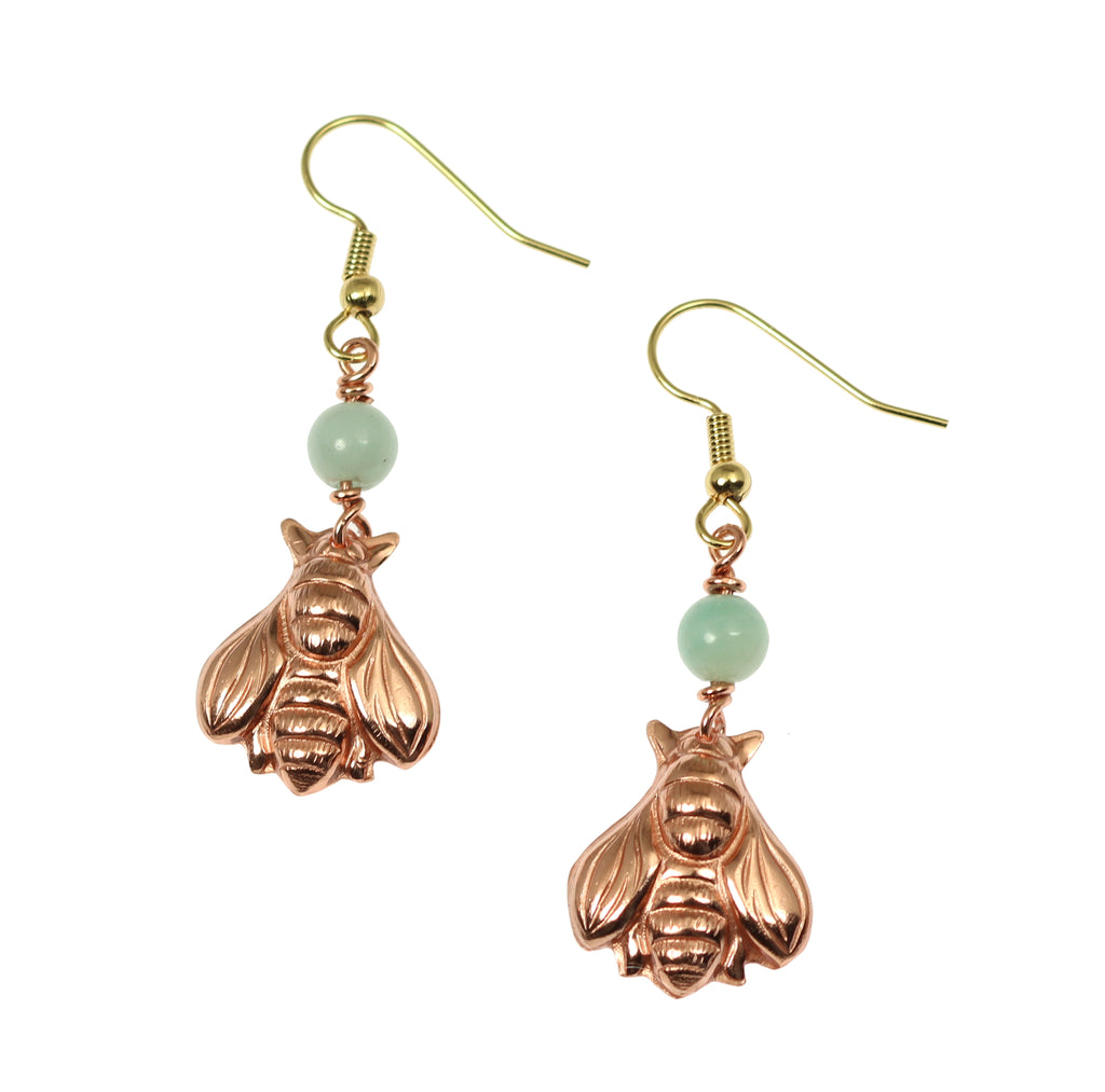 Copper Honey Bee Drop Earrings with Amazonite