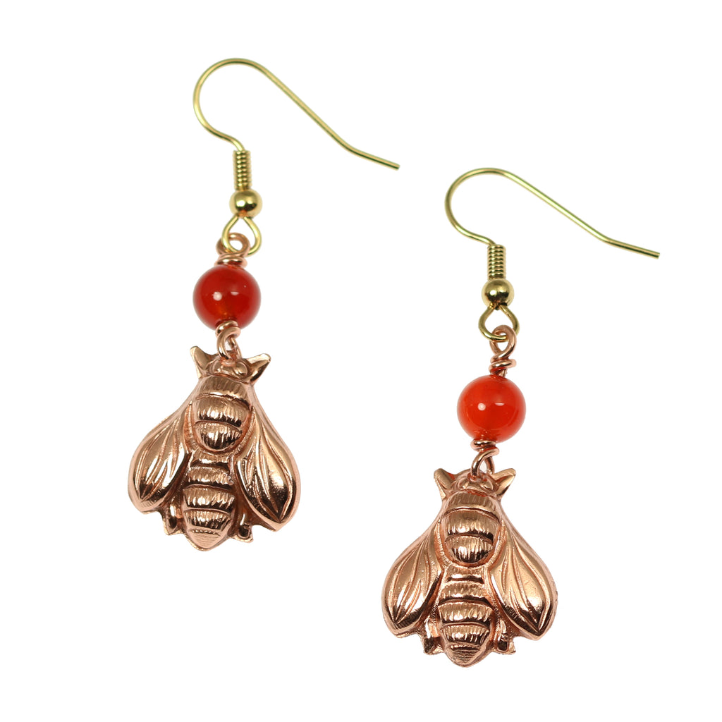 Copper Honey Bee Drop Earrings with Carnelian