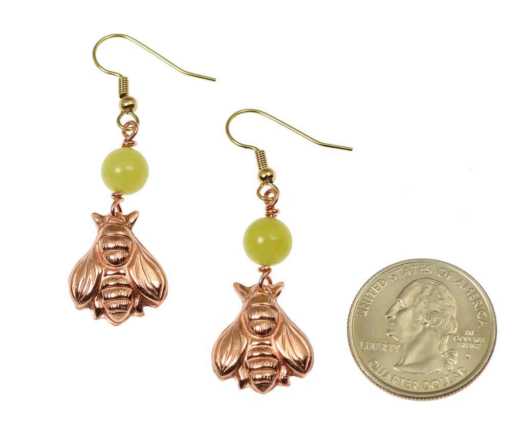 Copper Honey Bee Drop Earrings with Serpentine