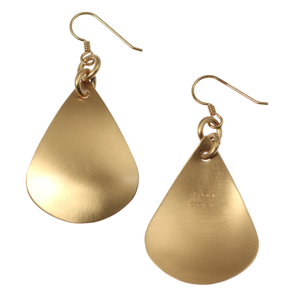 Large Brushed Bronze Teardrop Earrings
