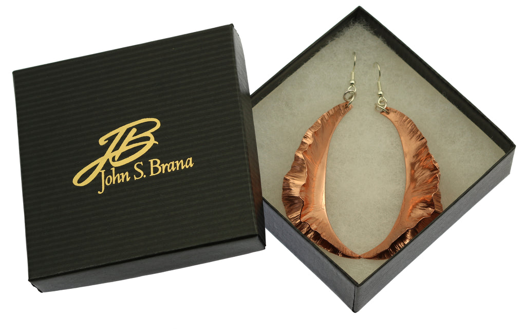 Large Fold Formed Copper Leaf Earrings