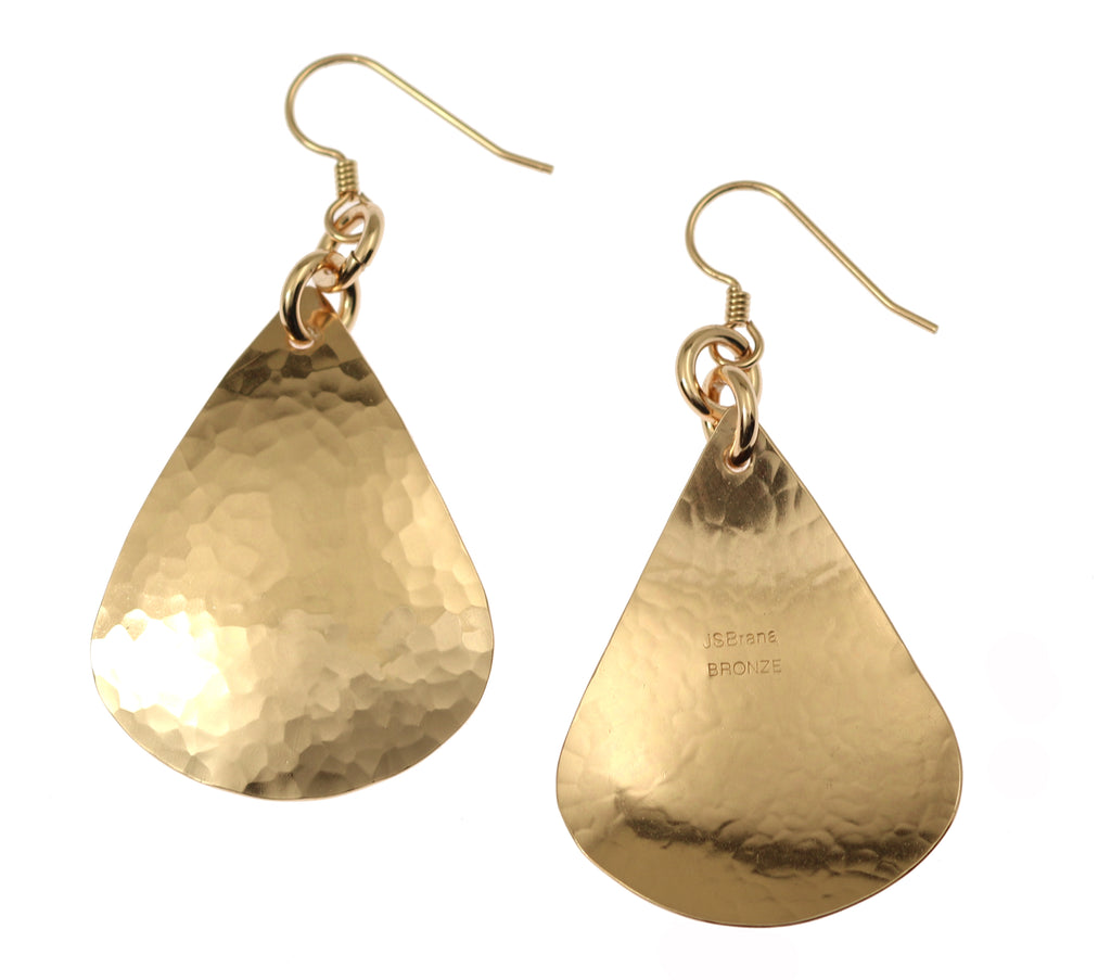 Large Hammered Bronze Teardrop Earrings