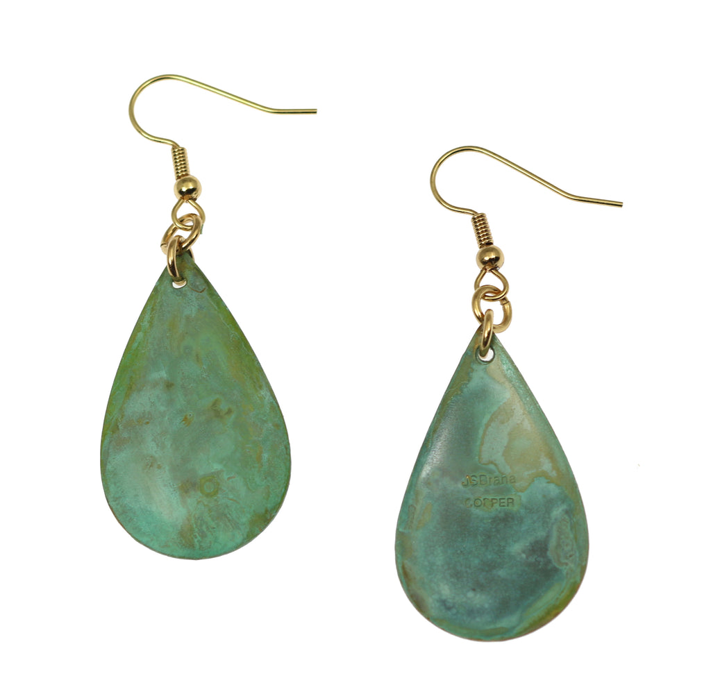 Apple Green Patinated Copper Tear Drop Earrings