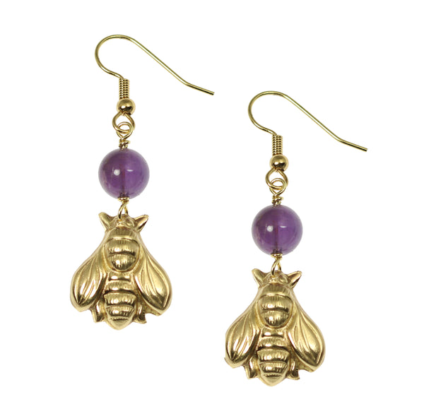 Nu Gold Honey Bee Earrings with Amethyst